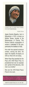Mother Teresa bookmark